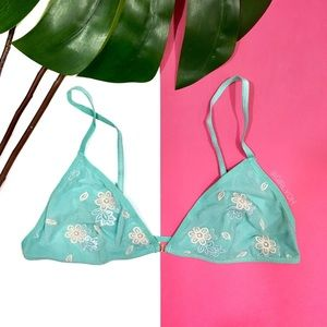 NEW Blue Aqua Floral Embroidered Mesh Bralette L
